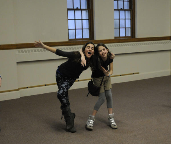 Lucy Paul, 11, left, and Ellery Dressler, 11, both of West Hartford, audition for the upcoming production of the Wizard of Oz by the Poppins Childrens Theatre Thursday afternoon.