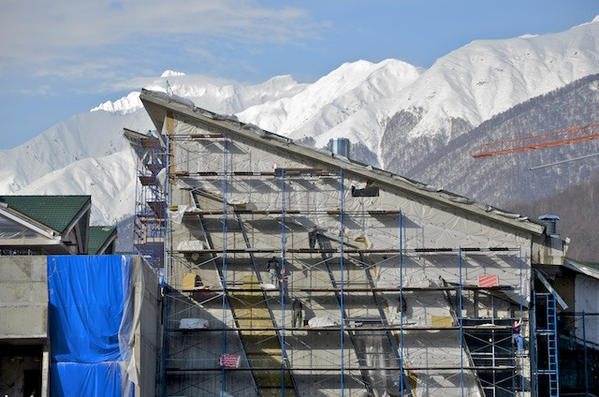 Construction continues at the Laura ski complex in Krasnaya Polyana, where many events of the 2014 Sochi, Russia, Olympics will be held.