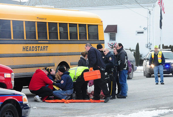A 6-year old child waiting at a school bus stop in Summit Hill was struck by a vehicle just after 8 a.m. this morning. The incident occurred near the intersection of W. Hazard and Market streets. One source stated the female operator of the vehicle did not stop, dragging the child about ten feet, striking a second child then a male who stepped out in front of the vehicle in attempt to stop it. The child was flown by MedEvac helicopter to the Lehigh Valley Hospital Trauma Center in Allentown. Summit Hill police are investigating the incident.