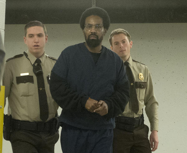 Saleem Elijah-Faulk is escorted by Lehigh County Sheriff Deputies to a preliminary hearing in the Lehigh County Courthouse on Thursday, February 7, 2013. He is for charged with robbing 10 women in Allentown, raping one and sexually assaulting two others.