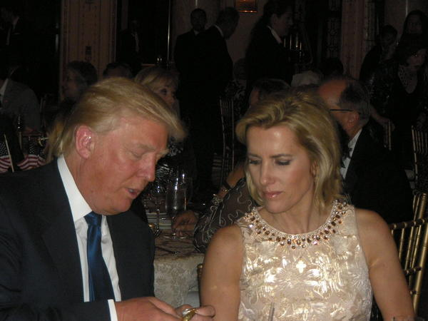 Donald Trump and Laura Ingraham at Republican fundraising dinner at Trump's Mar-a-Lago Club in Palm Beach.