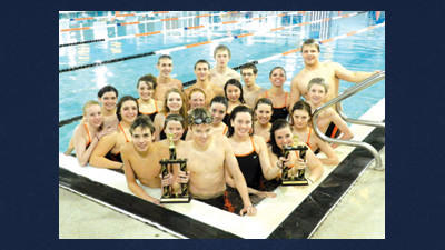 The Somerset Area High School swimmers are shown with their trophies from its Eagle Invitational meet. Team members are, from left, (first row) Brenden Knecht, Nick Bastian, Mary Mack, Emily Schleich, (second row) Abby Gontis, Andy Bastian, Laura Martinez, Ashleigh Fieg, Lauren Marple, (third row) Danielle Owen, Hannah Conklin, Katie Yachere, Anna Chan, Nick Kimmel, (fourth row) Kelsey Knupp, Elexsis Robison, Josh Stoppe, Shane Ickes, Jim deVries, Christian Gehman, Sarah Reeping and Brandon Williams.