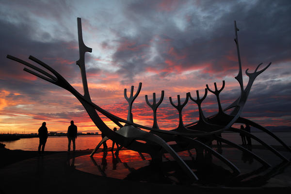 The Viking Ship monument at sunset in Reykjavik.