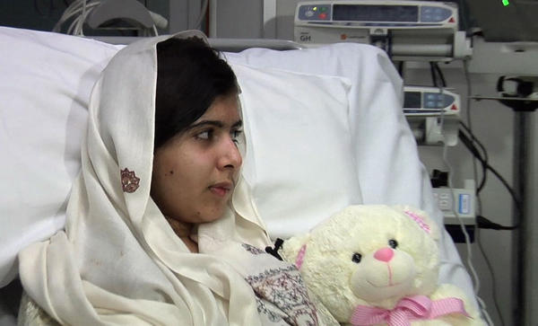 Malala Yousafzai in a video image made available by University Hospitals Birmingham.