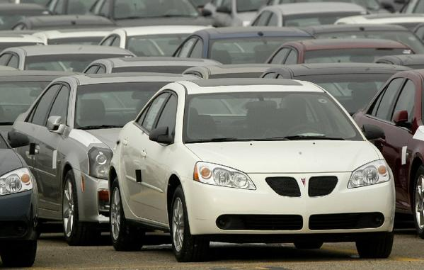 A Pontiac G6 is shown in 2005 outside the General Motors Orion Assembly plant in Orion Township, Mich.