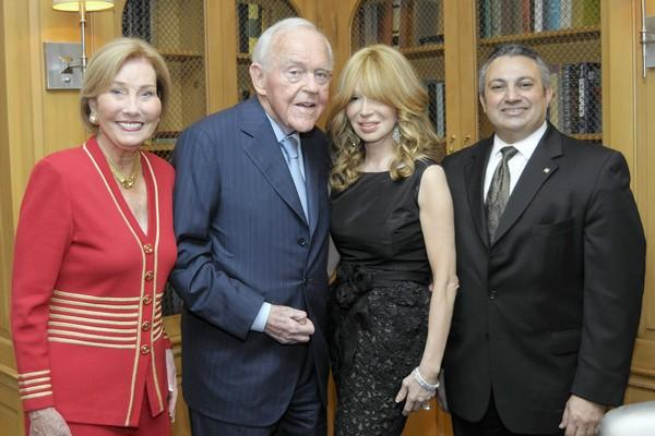 Chairwoman of Center Club Board of Governors Dr. Victoria Collins, honoree Henry T. Segerstrom, Elizabeth Segerstrom and Center Club General Manager Shahin Vosough.