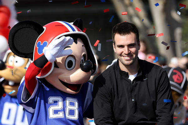 "Super Bowl XLVII MVP and Baltimore Ravens quarterback Joe Flacco rides through the Magic Kingdom on February 4, 2013. Flacco said the iconic ""I'm going to Disney World"" line after his team's 34-31 victory Sunday night."