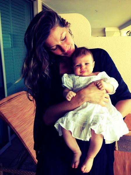 Supermodel Gisele Bundchen posted this adorable photo of her 2-month-old with Patriots quarterback Tom Brady.