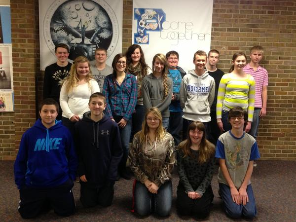 The 17 Petoskey High School students who had perfect attendance and no tardies during the first semester of the school year are (back row, from left) Travis Seagmen, Tom Bullman, Brittni Daley, Marshal Keller, Jakob Lightfoot, Adam Wagenschutz; (middle row) Kelly Belski, Rachel Armock, Breanna Jewell, Mason Norton, Jenny Downey; (front row) Matthew Aghajeri, Zach Smith, Taylor Bentley, Marissa Ball and Cody Minton. Not pictured, Erik Carlson.
