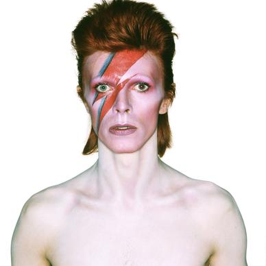 David Bowie in an album cover shoot for Aladdin Sane in 1973. Design by Brian Duffy and Celia Philo, make up by Pierre La Roche.