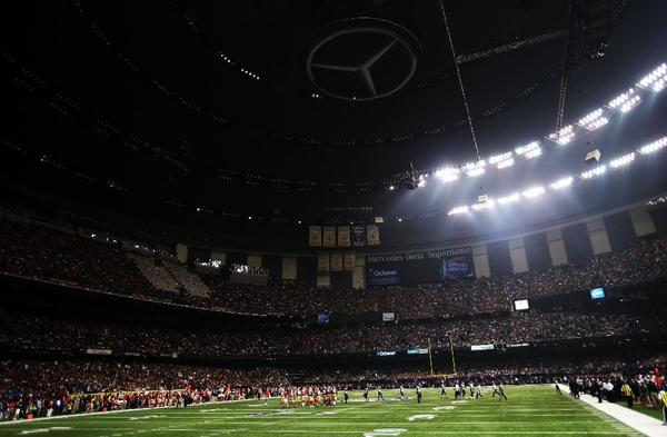Power went out in half of the Superdome during Sunday's Super Bowl.