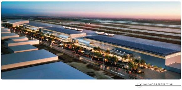 Mineta San Jose International Airport officials announced their plans to recommend the approval of an $82 million facility, shown in this rendering, that would be used by Google and other companies in Silicon Valley.