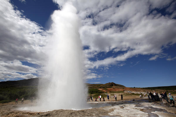 Strokkur geyser in south central Iceland erupts every five minutes or so.