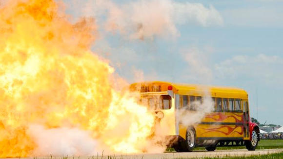 Built by Indy Boys Extreme Jet Vehicles of Indiana, the bus boasts a 42,000-horsepower engine once belonging to an F-4 Phantom fighter plane and shoots 80-foot flames out the back