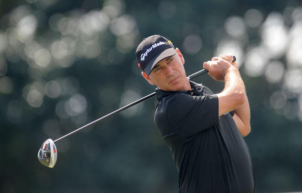 Corey Pavin tees off on the second hole during the opening round of the 2013 Allianz Championship in Boca Raton Friday.