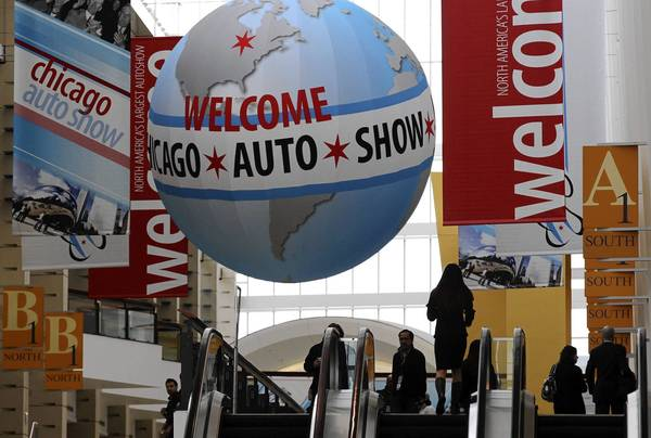 Banners welcome guests to the 105th Chicago Auto Show held at McCormick Place in Chicago.