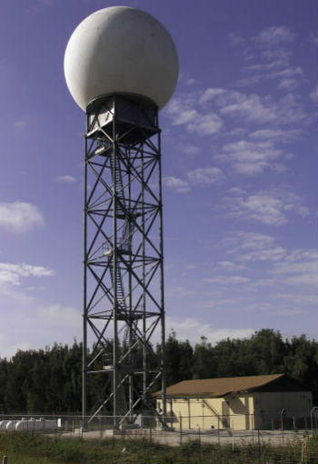 A Doppler weather radar installation in Miami, similar to the one pictured, is crucial to the entire region to detect dangerous weather conditions.