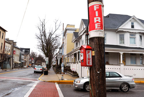A fire alarm box on 4th St. in Emmaus. Emmaus has about 30 of the old-fashioned Gamewell fire alarm call boxes throughout the borough, hanging on utility poles or in buildings.