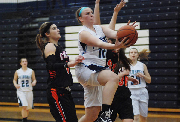 Petoskey senior guard/forward Kelsey Ance (right) finished with a game-high 12 points, six rebounds and three assists Thursday at the Northmen defeated Traverse City West, 36-16, to improve to 15-2 overall, 9-1 league. The win was also Petoskey's 12th straight.