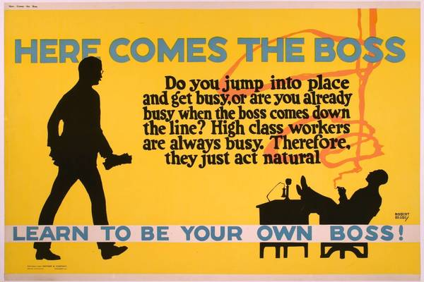 "Artist Robert Beebe created ""Here Comes the Boss"" for Mather and Company in 1923. It's one of more than three dozen examples of early workplace posters on view at the Peninsula Fine Arts Center in the new exhibit ""'Say it With Snap!': Motivating Workers by Design, 1923-29."""