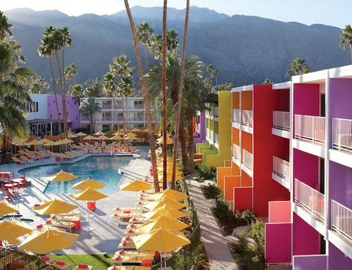 Architects Peter Stamberg and Peter Aferiat used 12 colors found in native desert wildflowers for a redo of the hotel at 1800 E. Palm Canyon Drive, according to the hotel's website.