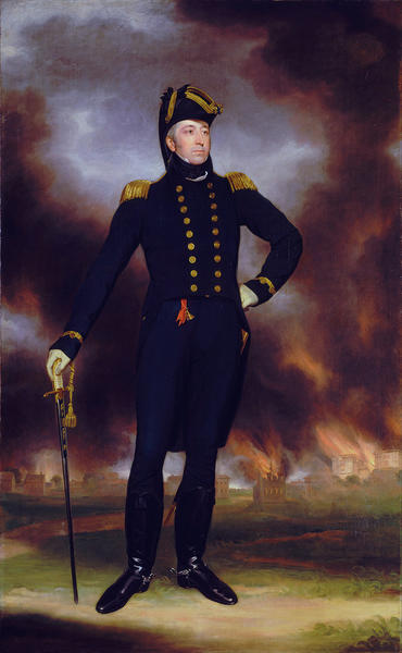 British Rear Adm. George Cockburn was reviled in America for burning Hampton and other Chesapeake Bay towns during the War of 1812. But he was celebrated in Britain with this post-war painting showing him standing before the flames of Washington, D.C.