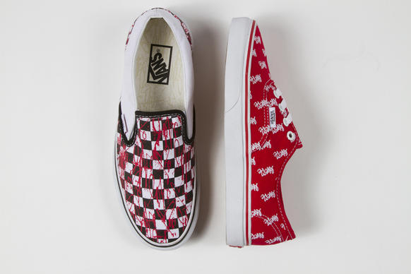 "For spring, Vans has collaborated with Curtis Kulig for a capsule collection that puts the artist's signature ""love me"" heart scrawl as a pink paint splatter across the brand's iconic black-and-white checkerboard slip-on"