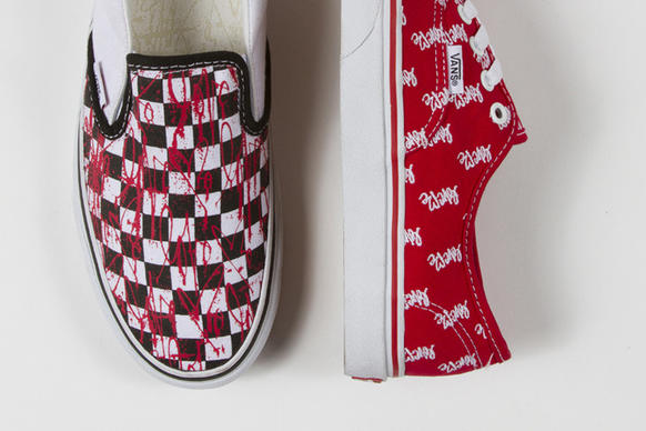 "For spring, Vans has collaborated with Curtis Kulig for a capsule collection that puts the artist's signature ""love me"" heart scrawl as a pink paint splatter across the brand's iconic black-and-white checkerboard slip-ons ($50) and red lace-up Authentics with white all-over embroidery ($55). (Vans.com and Vans retail stores)"