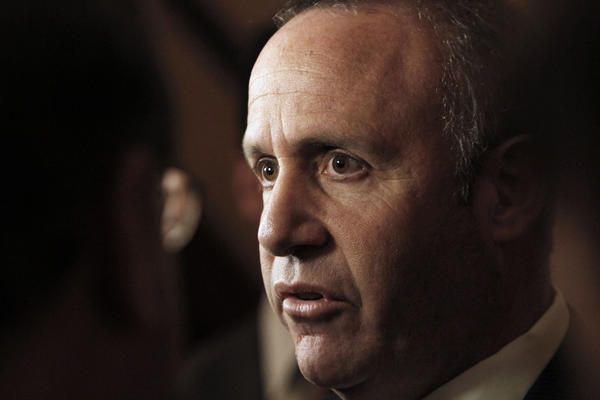 State Senate President Pro Tem Darrell Steinberg (D-Sacramento) talks with reporters in the Capitol in June.