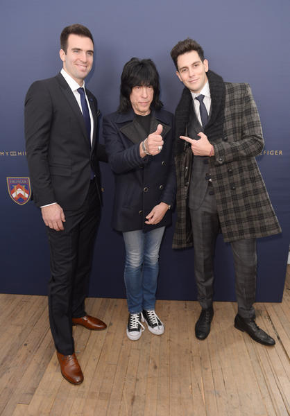 (L-R) Joe Flacco, Marky Ramone and Gabe Saporta pose backstage at the Tommy Hilfiger Men's Fall 2013 fashion show during Mercedes-Benz Fashion Week at Park Avenue Armory in New York City.