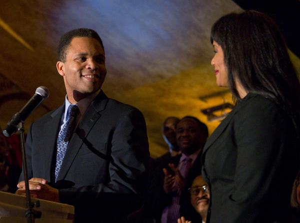 As his wife Sandi Jackson watches, U.S. Representative Jesse Jackson Jr. speaks with a group of about 50 ministers and other religious leaders who gave their support for his re-election. Jackson is currently being treated at the Mayo Clinic in Rochester, Minn.