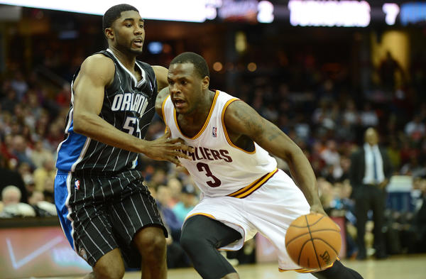 : Cleveland Cavaliers shooting guard Dion Waiters (3) drives to the basket as Orlando Magic shooting guard E'Twaun Moore (55) defends during the game at Quicken Loans Arena.