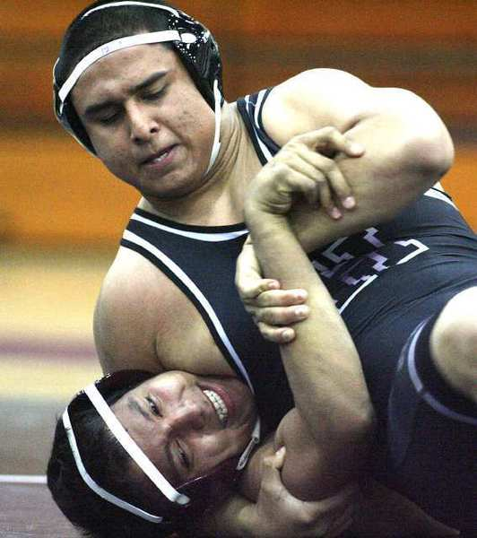 ARCHIVE PHOTO: Senior 220-pounder Gio Martinez has won his last four matches, all by pinfalls, and it's led him to a Rio Hondo League individual title in the second year of Hoover's wrestling program.