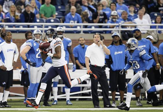 Alshon Jeffery makes the catch and runs 55 yards during the first quarter against the Lions.