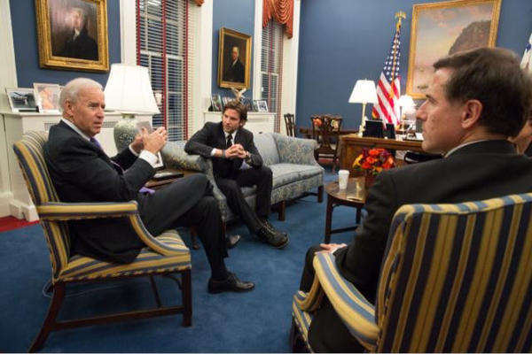 Vice President Joe Biden meets with director David O. Russell and actor Bradley Cooper Feb. 7, 2013.