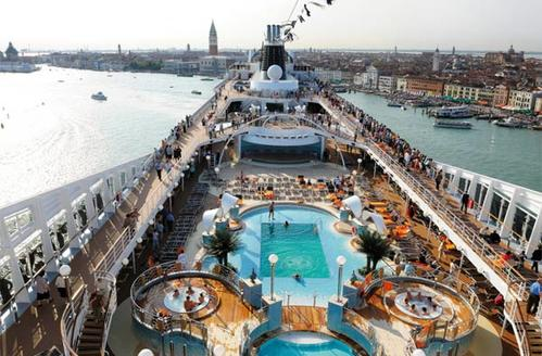 A look at the deck of the MSC Poesia, seen here in Venice, Italy.