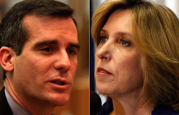 As Eric Garcetti, left, and Wendy Greuel -- the two top candidates to become Los Angeles mayor -- for the first time aired dueling television ads, they pushed back against rivals who say that City Hall is nearly broke.