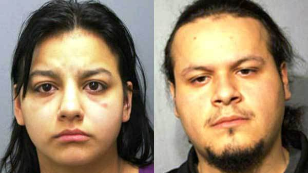 Booking photos of Priscilla Forys, left, and Julian Hernandez.