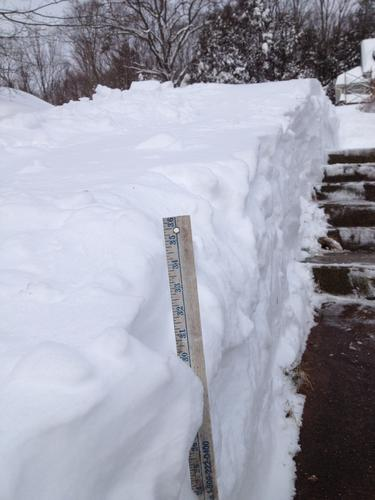 Three feet of snow fell in the town of East Haddam.