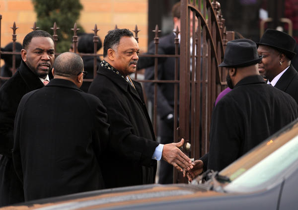 The Rev. Jesse Jackson arrives at the Greater Harvest Baptist Church for the funeral of 15-year-old Hadiya Pendleton on Saturday.