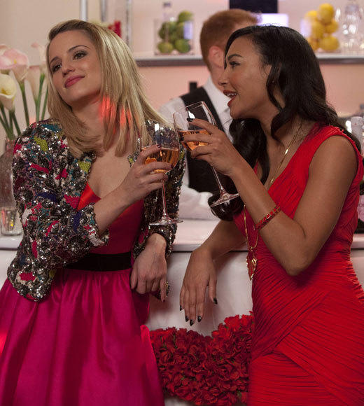 'Modern Family' to 'Glee': Valentine's Day TV 2013: I Do  Santana (Naya Rivera, R) and Quinn (Dianna Agron, L) reunite in Lima for Will and Emmas wedding, airing Thursday, Feb. 14 at 9:00 p.m. ET/PT on FOX.