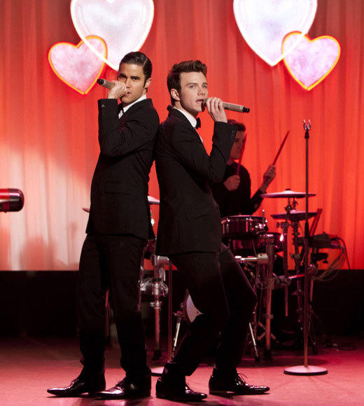 """I Do""<BR><BR>Blaine (Darren Criss, L) and Kurt (Chris Colfer, R) perform at Will and Emma's wedding, airing Thursday, Feb. 14 at 9:00 p.m. ET/PT on FOX."