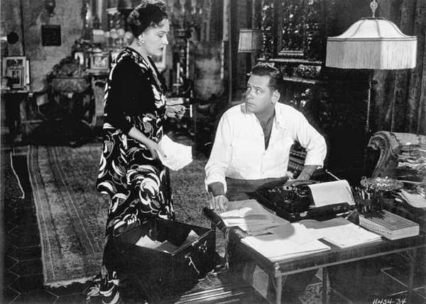 "Gloria Swanson as Norma Desmond and William Holden as Joe Gillis in Billy Wilder's ""Sunset Boulevard."""