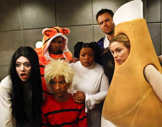 """Community"" is a midseason start this year, which means its Halloween episode is landing on Valentine's Day. Which we find delightfully ""Community""-esque.<BR><BR>""Paranormal Parentage""<BR><BR>While on their way to Vicki's Halloween costume party, the study group makes a detour to Pierce's mansion when they learn he accidentally locked himself in his panic room. As Pierce languishes behind locked doors, the group searches the dark and eerie house for the book that holds the code to the door. Along the way they encounter a few of the house's secrets, airing Thursday, Feb. 14 at 8 p.m. ET/PT on NBC."