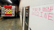 """We will be back!!"" — underlined twice — is the message in red on the white board in Fairplay Volunteer Fire Co.'s main bay area."