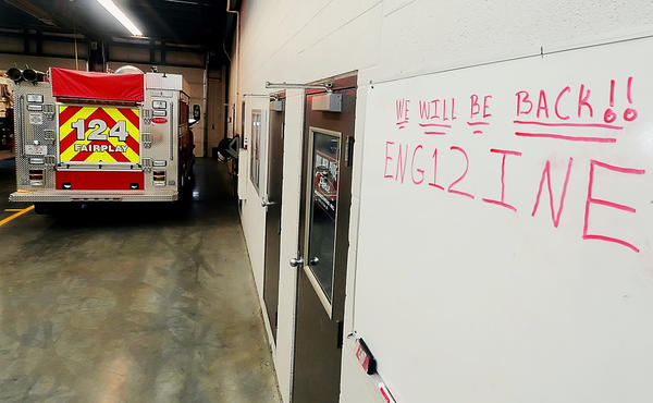 A hand written message on a board at the Fairplay Volunteer Fire Company.
