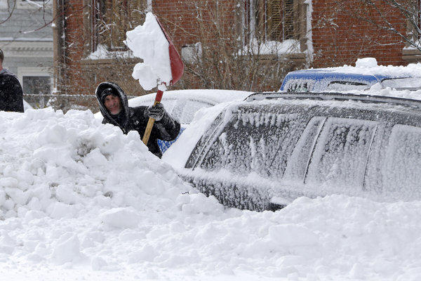 Countless people in Boston were out with shovels after the snow stopped falling.