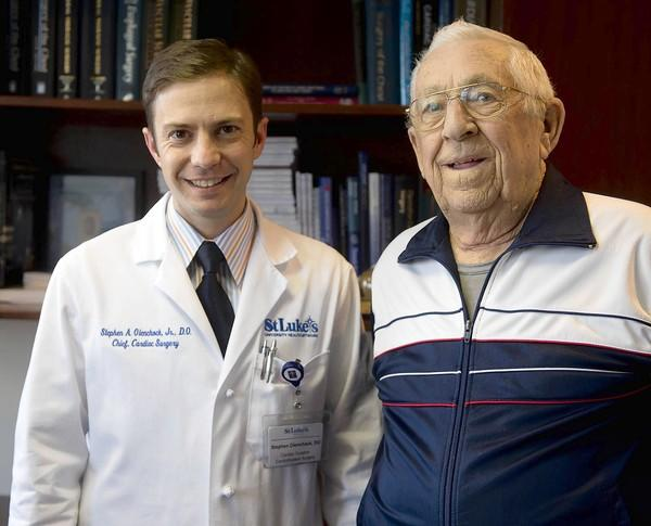 Dr. Stephen Olenchock Jr., Chief Cardiac Surgery, Cardiovascular and Thoracic Surgical Associates of St. Luke's, and his patient Bill Trauger, of Hatfield.