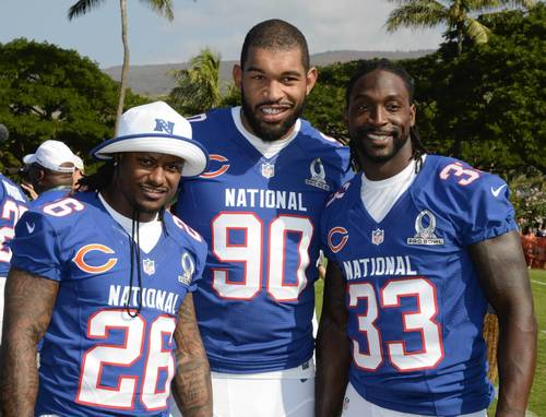Tim Jennings, Julius Peppers and Charles Tillman pose at NFC media day for the 2013 Pro Bowl at the JW Marriott Ihilani Resort.