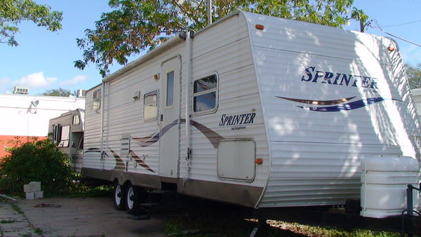 Fugitive Danny Foster lived in this trailer in the Hitching Post Mobile Home Park in Dania Beach for at least two years, U.S Marshals said.